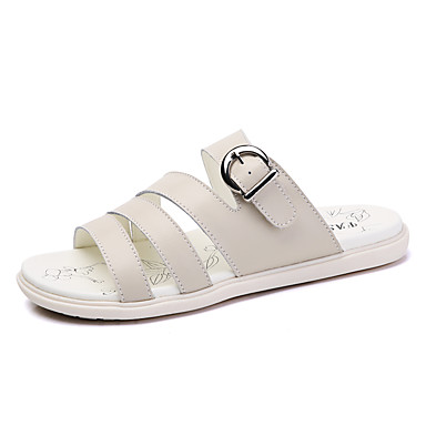 Dámské Boty Kůže Léto Sandály Plochá podrážka S otevřeným palcem S Pro Bílá Béžová Světle modrá