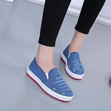 Damen Schuhe Leinwand PU Frühling Komfort Flache Schuhe für Normal Dunkelblau Hellblau