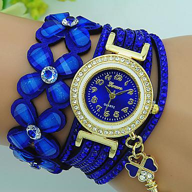 baratos Relógios Senhora-Mulheres Bracele Relógio Quartzo Couro Preta / Azul / Vermelho Com Strass Analógico senhoras Flor Boêmio - Marron Vermelho Azul Um ano Ciclo de Vida da Bateria / Tianqiu 377