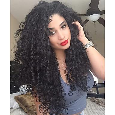Přírodní vlasy Krajka paruka 360 Frontal Kudrny 100% ručně vázaná Afroamerická paruka Přírodní vlasová linie Hustota Černá Krátký Střední