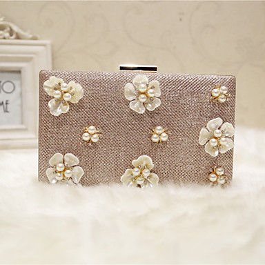 Women's Bags PU Evening Bag Flower Champagne / Black