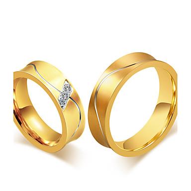 Casal Anel Anel de banda Zircônia cúbica Vintage Elegant Fashion Estilo simples Zircônia Cubica Aço Titânio 18k Ouro Redonda Jóias de