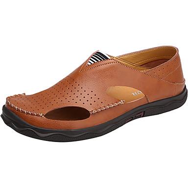Homens sapatos Couro Ecológico Primavera Outono Solados com Luzes Sandálias Cadarço para Casual Preto Marron Vermelho