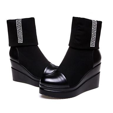 Femme compensée Cuir de semelle Chaussures Basique 05960649 rond Hauteur Escarpin Bout Bottes Hiver Noir waAqwz