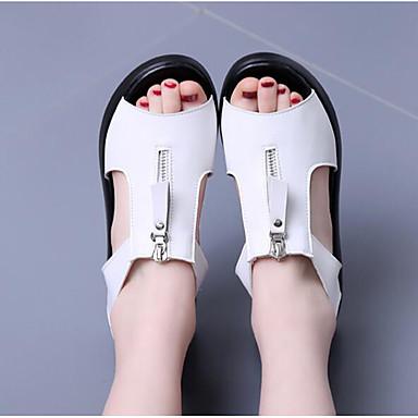 Naiset Sandaalit PU Kevät Valkoinen Musta Tasapohja