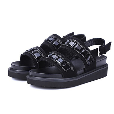 Dámské Boty PU Jaro Pohodlné Sandály Pro Ležérní Černá Stříbrná