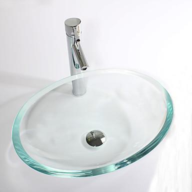 Moderna Rectângular material dissipador é Vidro Temperado Pia de Banheiro