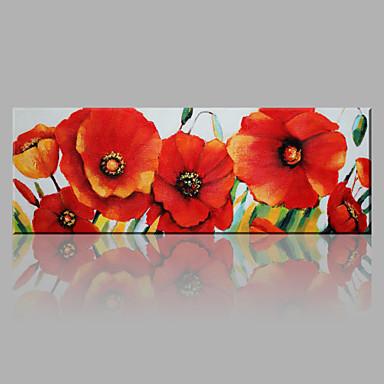 Maalattu Kukkakuvio/Kasvitiede Horizontal, Kukka Art Deco/Retro Moderni/nykyaikainen Kangas Hang-Painted öljymaalaus Kodinsisustus 1