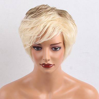 Perucas de cabelo capless do cabelo humano Cabelo Humano Ondulado Natural Com Franjas Parte lateral Cabelo Ombre Curto Fabrico à Máquina