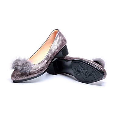 Mulheres Sapatos Tecido Primavera Outono Conforto Saltos Salto Baixo Salto de bloco Ponta Redonda Cristais Pom Pom para Casual Escritório