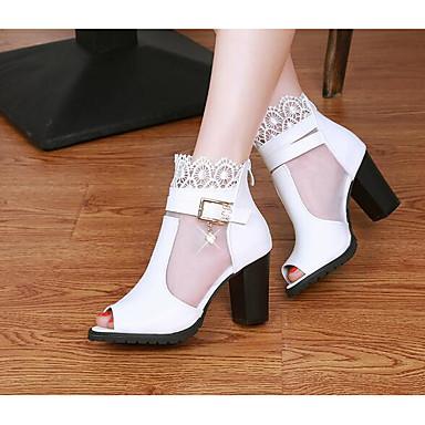 Naiset Kengät PU Kevät Comfort Sandaalit Käyttötarkoitus Päivittäin Valkoinen Musta Punainen