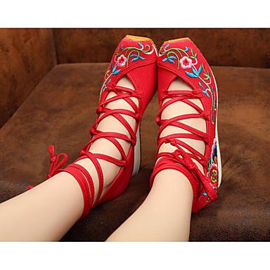Damen Schuhe Stoff Frühling Komfort Sneakers für Normal Rot Blau