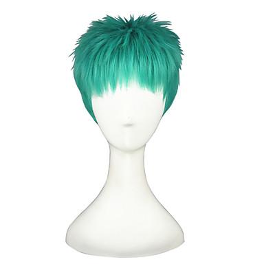 الاصطناعية الباروكات / باروكات مخصصة مستقيم شعر مستعار صناعي أخضر شعر مستعار للمرأة قصير دون غطاء