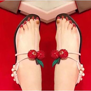 Naiset Kengät Synteettinen mikrokuitu PU Kesä Slingback Sandaalit Tasapohja Käyttötarkoitus Kausaliteetti Musta Punainen Pinkki