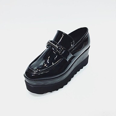 Damen Schuhe Lackleder Frühling Herbst Komfort Loafers & Slip-Ons Keilabsatz Für Normal Schwarz Dunkelgrau