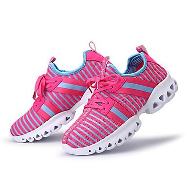 Mulheres Sapatos Couro Ecológico Primavera Outono Conforto Tênis Corrida Sem Salto Ponta Redonda Cadarço para Atlético Branco Preto Fúcsia