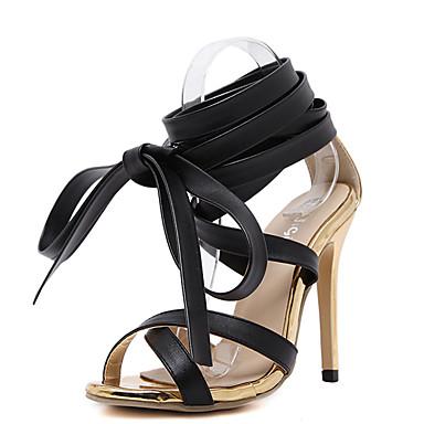 Naiset Kengät PU Kesä Sandaalit Piikkikorko Avokkaat Solmittavat Käyttötarkoitus Musta