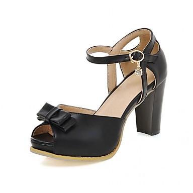 Mulheres Sapatos Courino Couro Ecológico Verão Outono Conforto Inovador Sandálias Caminhada Salto Robusto Peep Toe Laço para Social