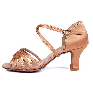 Dámské Boty na latinskoamerické tance Satén Sandály / Podpatky Přezky / Ratan Kubánský Obyčejné Taneční boty Béžová / Výkon