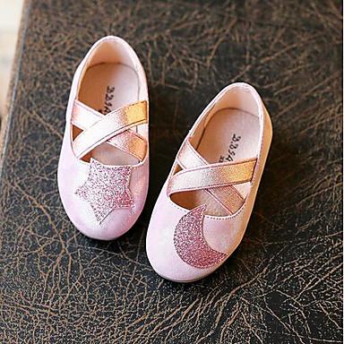 Tyttöjen Kengät PU Kevät Syksy Ensikengät Tasapohjakengät Kävely Tarranauhalla varten Kausaliteetti Kulta Pinkki