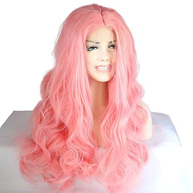 Synthetische Lace Front Perücken Wellen Rosa Damen Spitzenfront Natürliche Perücke Medium Lang Synthetische Haare