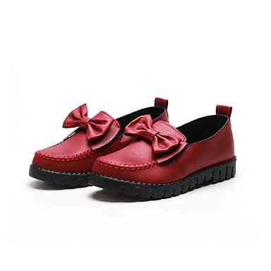 Mulheres Sapatos Tecido Primavera Outono Conforto Mocassins e Slip-Ons Caminhada Sem Salto Ponta Redonda Laço para Ao ar livre Preto Vinho