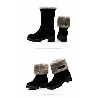 Naiset Kengät Aitoa nahkaa PU Talvi Comfort Bootsit Käyttötarkoitus Kausaliteetti Musta Khaki
