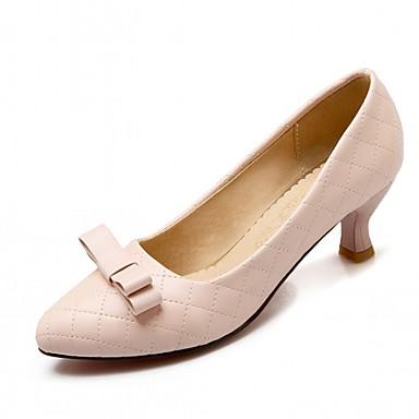 Mulheres Sapatos Couro Ecológico Primavera Outono Conforto Inovador Saltos Caminhada Salto Sabrina Dedo Apontado Laço para Casual