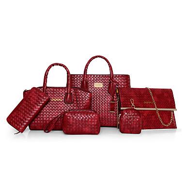 Mulheres Bolsas PU Conjuntos de saco 6 Pcs Purse Set Preto / Vermelho / Marron