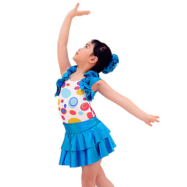 תלבושות למעודדות תלבושות בגדי ריקוד ילדים ביצועים ספנדקס נצנצים קפלים 3 חלקים בלי שרוולים טבעי בגד גוף חצאית אביזרים לשיער