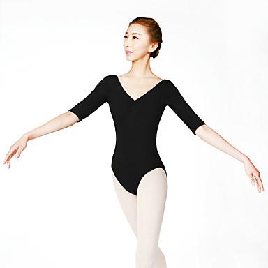 Ballett Trikoter Dame Trening Bomull Spandex Blonder 1 Deler Halv-ermet Høy Trikot