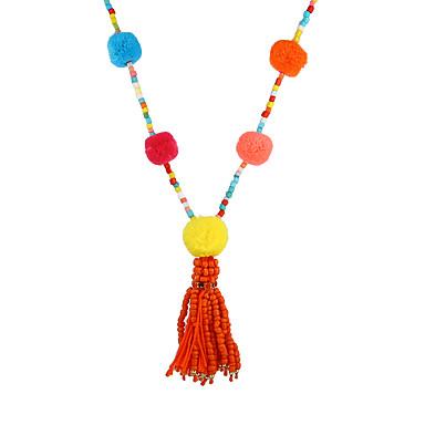 Mulheres Luxo Boêmio Strands Necklace - Luxo Original Pingente Borla Boêmio Jóias filme lateralmente Forma Geométrica Arco-íris Colar