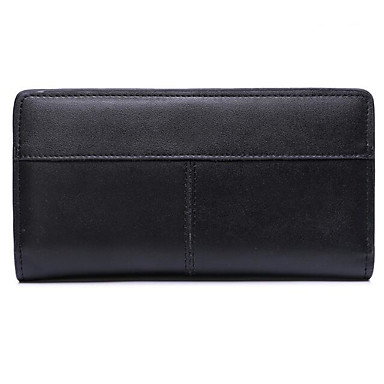 Women Checkbook Wallet Cowhide All Seasons Casual Rectangle Zipper Chocolate Black Blushing Pink