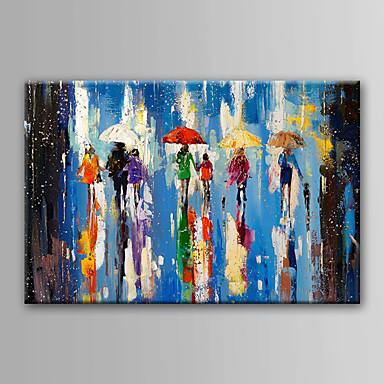 Hang festett olajfestmény Kézzel festett - Absztrakt Absztrakt Vászon / Nyújtott vászon