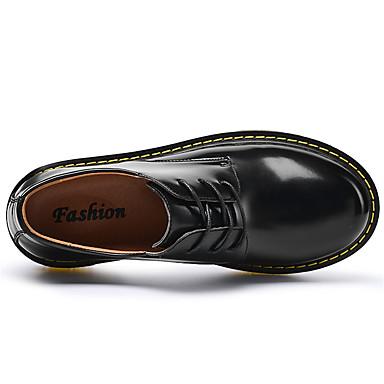 Men's Shoes Patent Leather Fall / Winter Comfort / Light Soles Oxfords Black / Brown / Blue