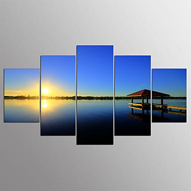 abordables Toiles-Impression sur Toile Abstrait,Cinq Panneaux Toile Format Horizontal Imprimé Décoration murale For Décoration d'intérieur