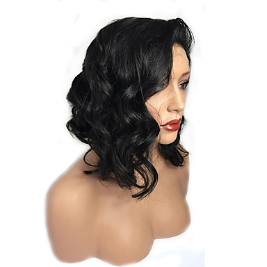 Human Hair Full Lace Wig Water Wave 130% Density 100% Hand Tied African American Wig Natural Hairline Short Medium Women's Human Hair