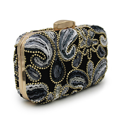 Women's Bags Cotton Evening Bag for Wedding Event / Party Casual Formal Office & Career All Seasons Black Grey Rainbow