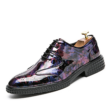 Men's Formal Shoes Patent Leather Fall / Winter Wedding Shoes Black / Wine / Light Green / Party & Evening / Lace-up / Split Joint / Party & Evening / Printed Oxfords