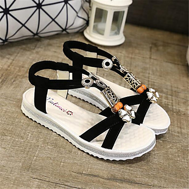Women's Shoes PU Spring Comfort Sandals For Casual Black Red