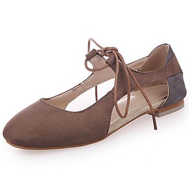 Mulheres Sapatos Couro Ecológico Verão Solados com Luzes Conforto Rasos Sem Salto Ponta Redonda Cadarço para Casual Bege Marron