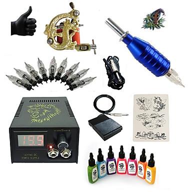 Starter Tattoo-Kits 1 x-Legierung Tattoo Maschine für Futter und Schattierung LCD-Stromversorgung 5 x Tattoonadeln RL 3 Komplett-Set