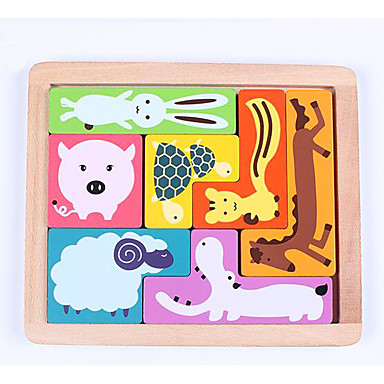 Blocos de Construir Quebra-Cabeça Jogos de Madeira Modelos de madeira Brinquedo Educativo Animais Quadrada Crianças Dom