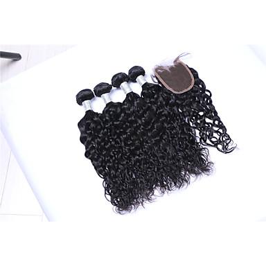 baratos Extensões de Cabelo Natural-4 pacotes com fechamento Cabelo Brasileiro Ondulado Natural 8A Cabelo Humano Cabelo Humano Ondulado Tramas de cabelo humano Extensões de cabelo humano