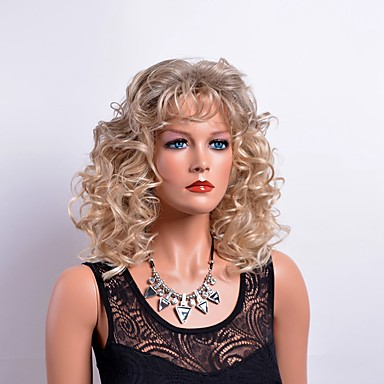 Synthetic Wig Curly Blonde With Bangs Synthetic Hair Blonde Wig Women's Medium Length Capless