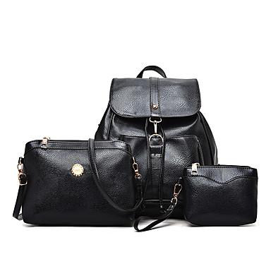 Women's Bags PU(Polyurethane) Backpack 3 Pcs Purse Set Black / Red / Beige