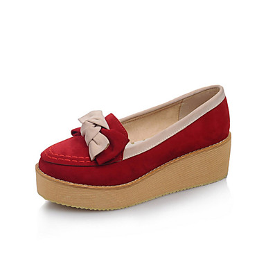 Women's Shoes Microfibre Spring Fall Comfort Heels Creepers Wedge Heel Round Toe Bowknot Split Joint for Casual Dress Beige Red Blue
