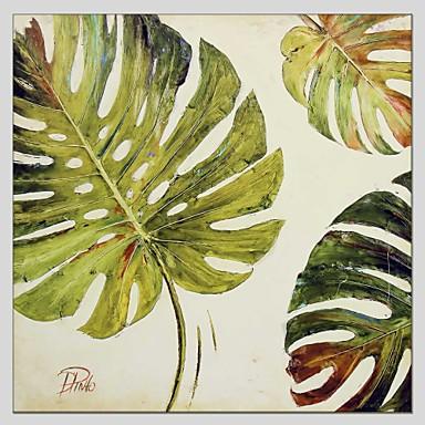 Pintura a Óleo Pintados à mão - Floral / Botânico Abstracto Tela de pintura / Lona esticada