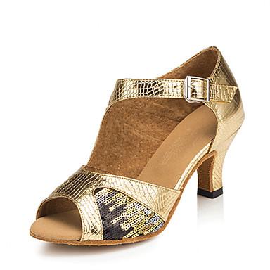 Women's Latin Shoes Faux Leather Sandal Paillette Cuban Heel Customizable Dance Shoes Gold / Performance