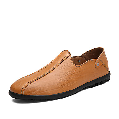 Men's Cowhide Summer / Fall Comfort Loafers & Slip-Ons Walking Shoes Black / Dark Brown / Light Brown